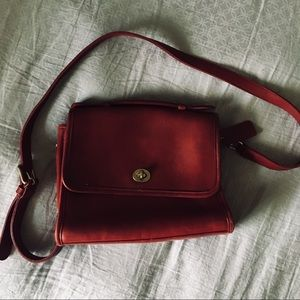 Vintage Cherry Red Leather Coach Bag